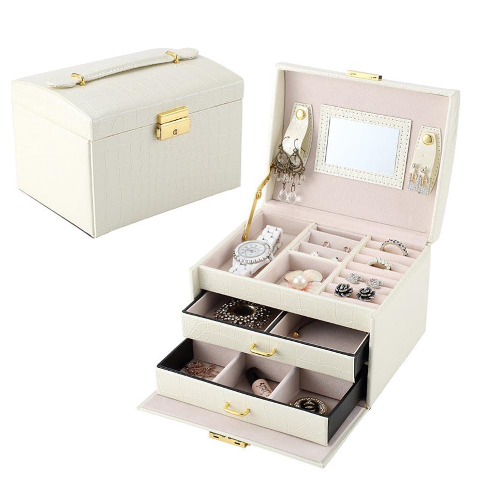 鳄鱼纹pu皮革饰品盒 三层双抽屉珠宝首饰盒 公主珠宝首饰收纳箱