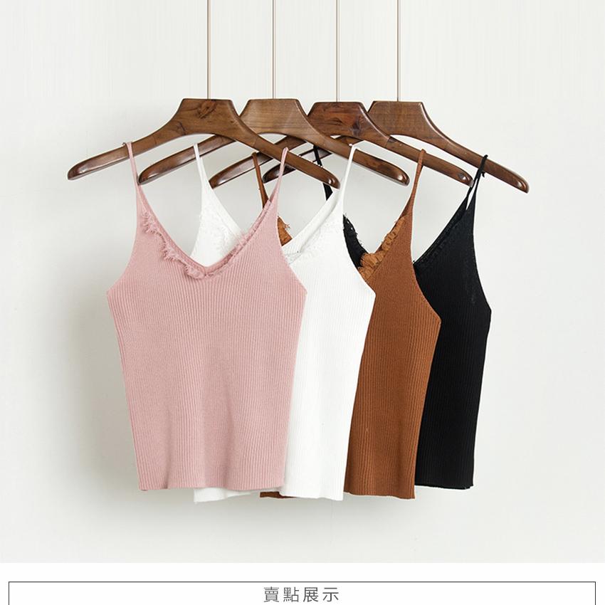 新款2017春夏百搭纯色套头针织背心女短款韩版修身显瘦打底吊带衫