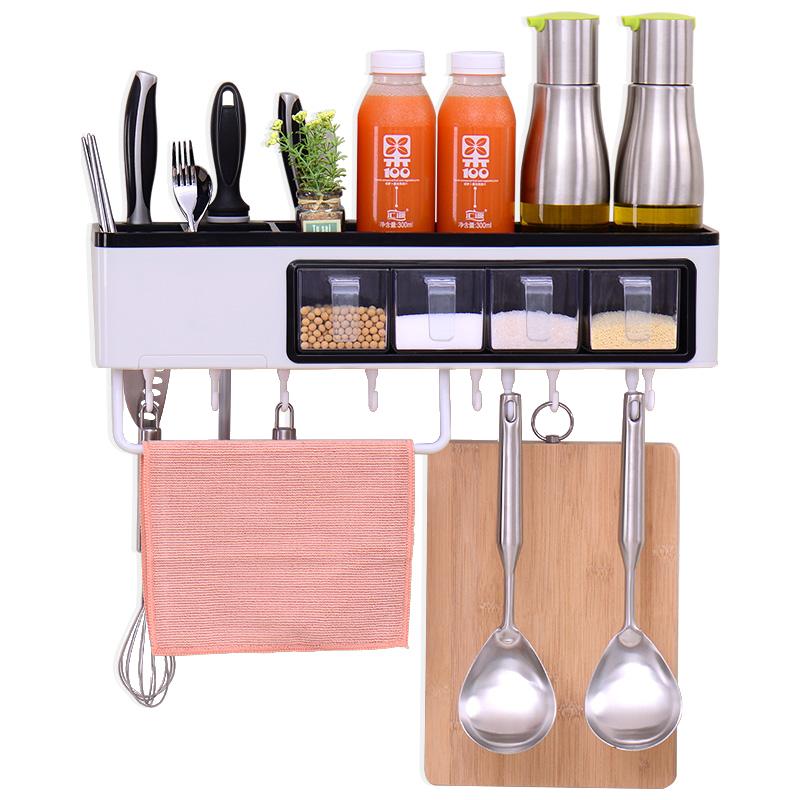 收納 廚房置物架 多功能壁掛廚具用品塑料免打孔置物架