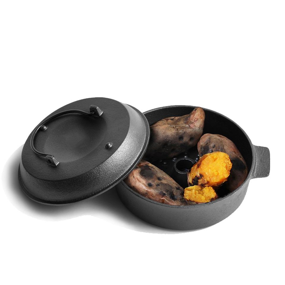 鑄鐵鍋 紅薯鍋 家用多功能生鐵鍋烤鍋燃氣神器