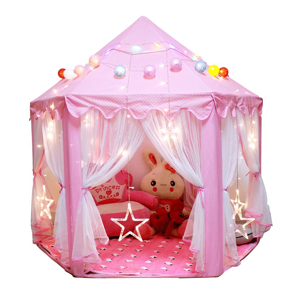 蒙古包蚊帳 兒童帳篷遊戲屋 小公主粉色房子六邊彩燈