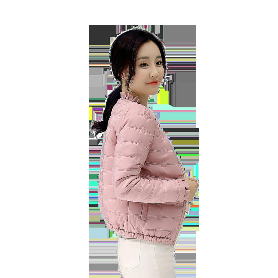短款棉服 超輕薄款棉衣 時尚韓版修身圓領學生冬季小棉襖外套