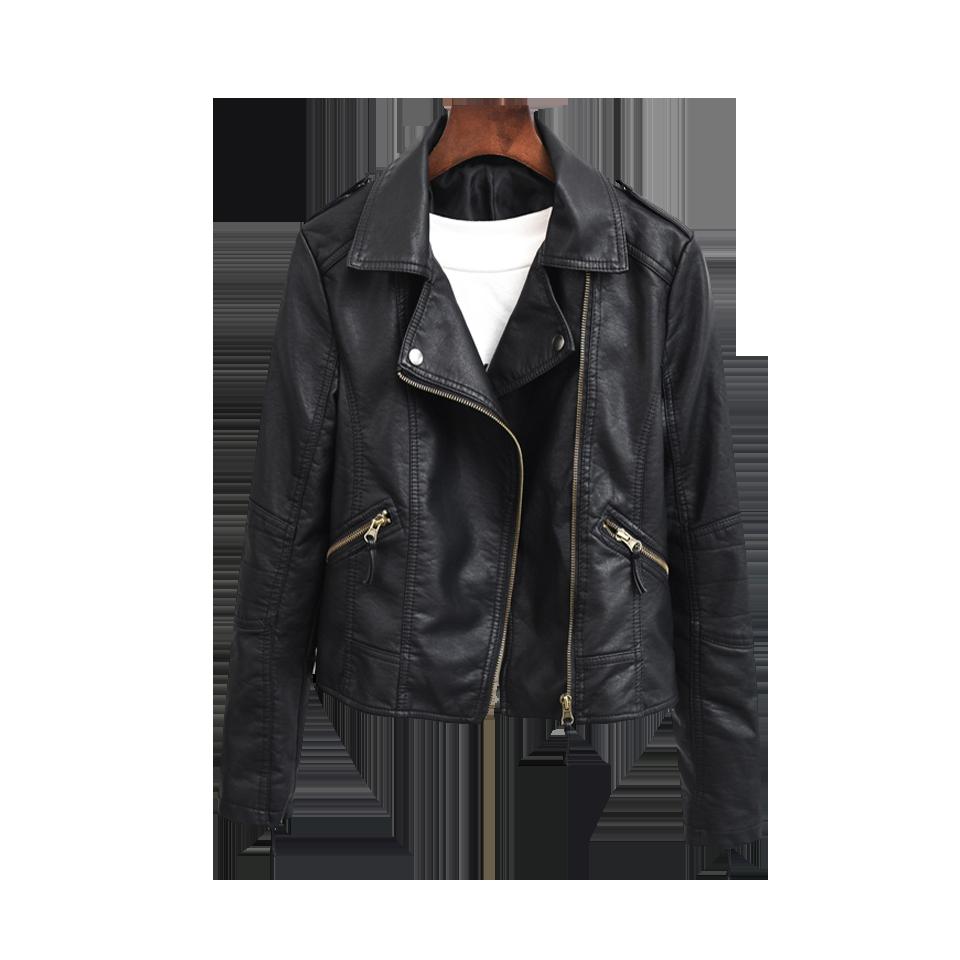 皮衣女短款 修身PU皮韓版學生黑色皮夾克 機車服潮外套