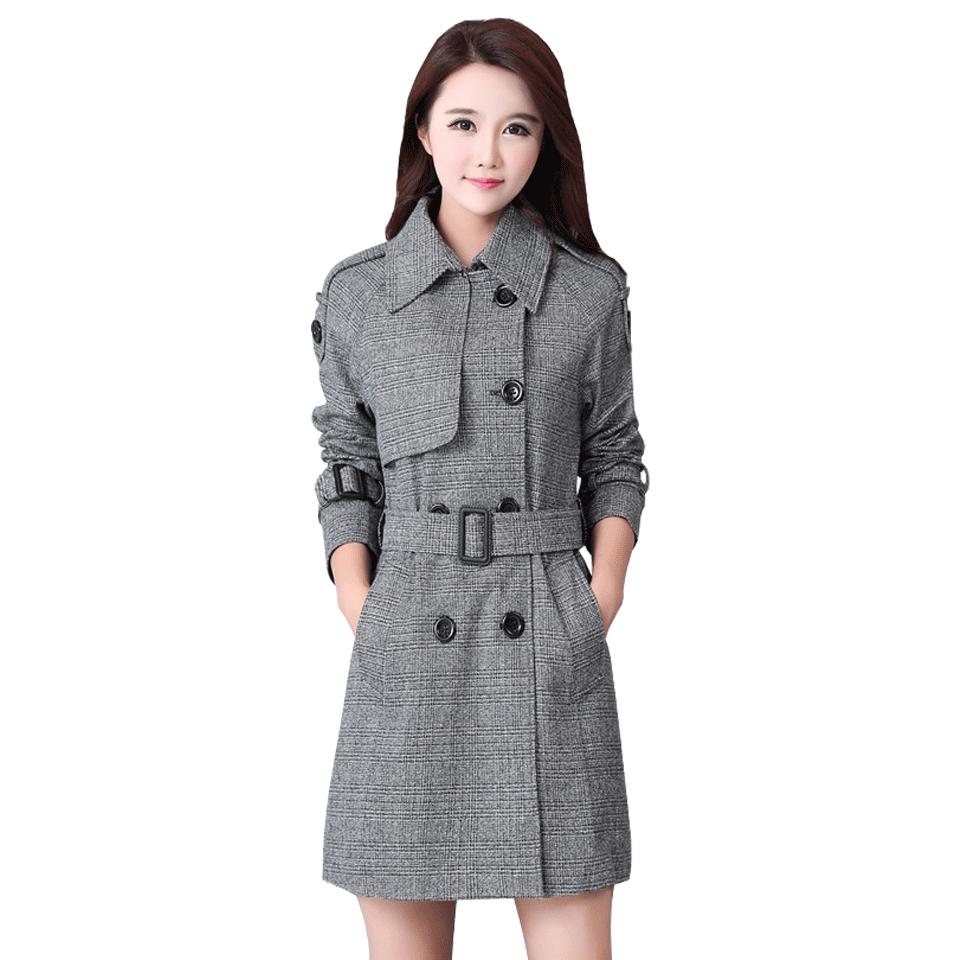 韓版大衣女大衣 修身格紋雙排扣 翻領毛呢大衣外套